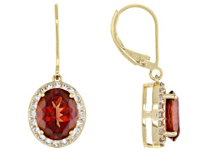 Red Labradorite and White Zircon 18K Yellow Gold Over Sterling Silver Earrings 4.66ctw