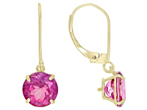 Pink Topaz 10K Yellow Gold Dangle Earrings 3.96ctw