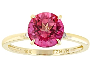 Pink Topaz 10k Yellow Gold Solitaire Ring 2.03ctw