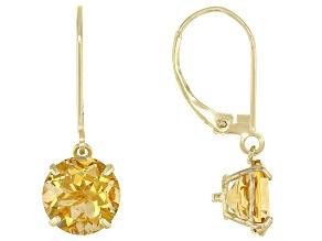 Yellow Citrine 10k Yellow Gold Dangle Earrings 3.15ctw