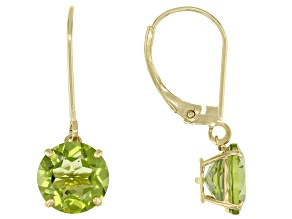 Green Peridot 10k Yellow Gold Dangle Earrings 3.42ctw