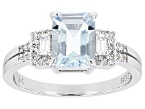 Blue Aquamarine Rhodium Over 14K White Gold Ring 1.25ctw