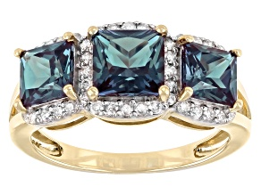 Blue Lab Created Alexandrite And White Diamond 10k Yellow Gold Ring 3.06ctw.