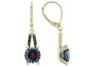 Blue Lab Created Alexandrite 10kt Yellow Gold Dangle Earrings 4.05ctw