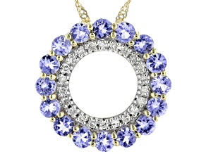 Blue Tanzanite 10K Yellow Gold Pendant With Chain 1.05ctw