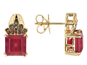 Red Mahaleo (R) Ruby 10K Yellow Gold Stud Earrings 4.96ctw