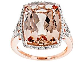 Peach Morganite With White Diamond 14k Rose Gold Ring. 8.14ctw