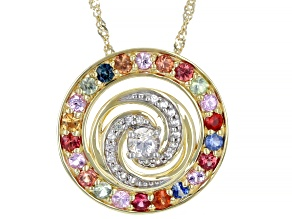 Multi-Color Sapphire And White Sapphire 10K Yellow Gold Pendant With Chain 1.09ctw.