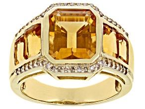 Yellow Madeira Citrine 10K Yellow Gold Ring 4.57ctw