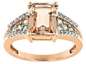 Square Octagonal Morganite And Aquamarine With White Diamond Accent 10k Rose Gold Ring 2.82ctw.