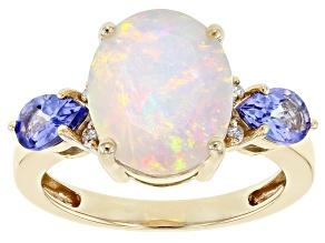 Multicolor Ethiopian Opal 10K Yellow Gold Ring 2.93ctw