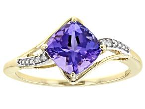 Blue Tanazanite With White Diamond 10K Yellow Gold Ring  1.45ctw