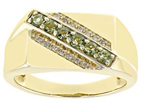 Moldavite 10K Yellow Gold Men's Ring. 0.31ctw