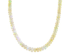 Multi-Color Rondelle Beaded Ethiopian Opal 14K Yellow Gold Necklace 3-5mm