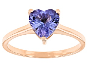 Blue Tanzanite 10K Rose Gold Solitaire Ring. 1.05ctw