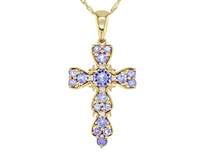 Blue Tanzanite 10K Yellow Gold Pendant With Chain 0.90ctw