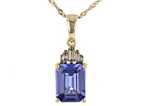 Blue Tanzanite 10K Yellow Gold Pendant With Chain 2.13ctw
