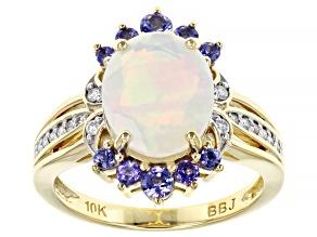 Multicolor Ethiopian Opal Rhodium over 10K Yellow Gold Ring. 2.33ctw