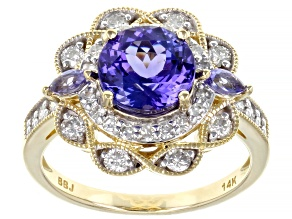 Blue Marquise And Round Tanzanite 14k Yellow Gold Ring 2.55ctw