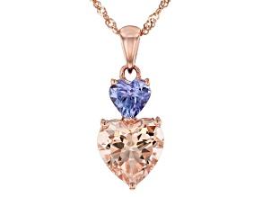 Peach Morganite 10K Rose Gold Pendant With Chain 1.63ctw
