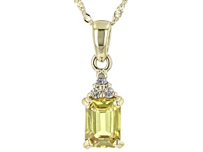 Yellow Sapphire With Champagne Diamond 10k Yellow Gold Pendant And Chain 0.94ctw