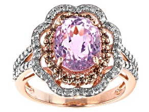 Pink Kunzite With White And Champagne Diamonds 10K Rose Gold Ring