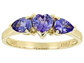 Blue Tanzanite 10K Yellow Gold Ring 0.81ctw