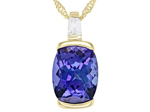 Blue Tanzanite With Baguette White Zircon 10k Yellow Gold Pendant With Chain 1.89ctw