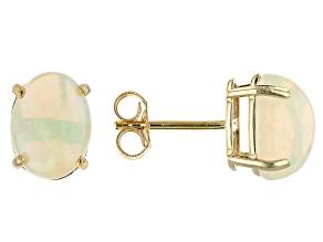 Multicolor Ethiopian Opal 10K Yellow Gold Stud Earrings 1.58ctw