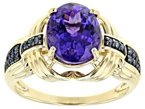 Blue Tanzanite And Round Blue Diamond 14K Yellow Gold Ring 2.85ctw