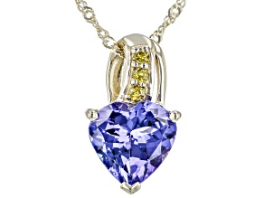 """Blue Tanzanite 10k Yellow Gold Pendant With 18"""" Chain 1.74ctw"""