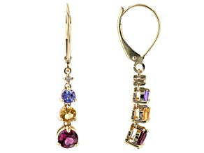 Multi-Gemstones With Round White Diamond Accent 10K Yellow Gold Earrings 1.26ctw