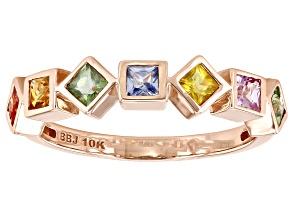 Multi-Color Sapphire 10K Rose Gold Ring 0.77ctw