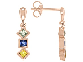 Multi-color Sapphire 10K Rose Gold Earrings 0.66ctw