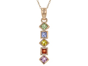 Multi-Color Sapphire 10K Rose Gold Pendant With Chain 0.55ctw