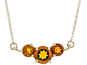 "Orange Madiera Citrine 10k Yellow Gold 18"" Necklace"