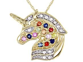 Multi-Color Sapphire 10k Yellow Gold Unicorn Pendant With Chain 0.28ctw