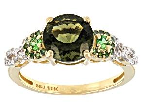 Green Moldavite 10k Yellow Gold Ring 1.49ctw
