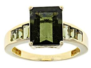 Green Moldavite 10K Yellow Gold Ring 2.69ctw