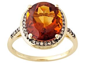 Orange Madeira Citrine 10k Yellow Gold Ring 4.32ctw