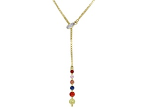 Multicolor Sapphire  10K Yellow Gold Necklace 0.47ctw