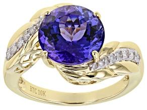 Blue Tanzanite 10K Yellow Gold Ring 4.12ctw