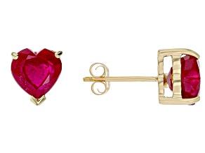 Red Mahaleo Ruby(R) 10k Yellow Gold  Stud Earrings