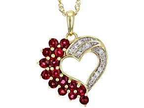 Round Red Spinel With Round White Diamond 10K Yellow Gold Heart Pendant With Chain 0.65ctw