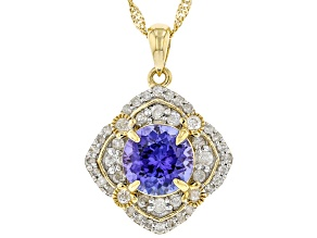Blue Tanzanite 14K Yellow Gold Pendant With Chain 1.75ctw