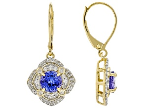 Blue Tanzanite 14K Yellow Gold Earrings 2.06ctw