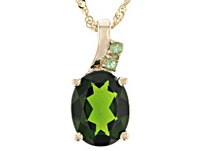 Green Chrome Diopside 10K Yellow Gold Pendant With Chain 1.68ctw
