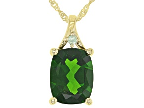 Green Chrome Diopside 10K Yellow Gold Pendant With Chain 1.85ctw