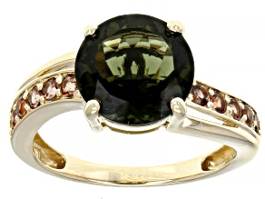 Green Moldavite 10k Yellow Gold Ring 2.68ctw