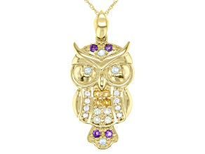 Multi Stone Multi Color 10K Yellow Gold Owl Pendant With Chain 0.29ctw